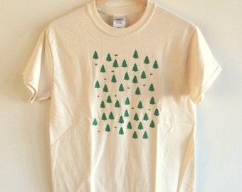 Forest T-Shirt, Tree Shirt, Camping Shirt, Screen Printed T Shirt, Tree Print