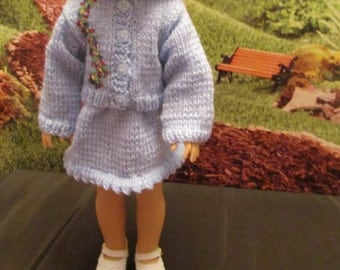 Hand Knit Sweater and Skirt Set to Fit Your 14'' and  14 1/2'' Dolls ,Soft Yarn in a Light Blue Color ,Embroidery Accent,Sweet Little Outfit