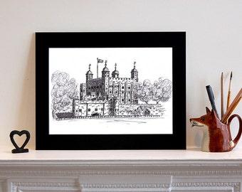 Tower of London Illustration Print, Art Print, London illustration, London Print, History Print, Art Gift