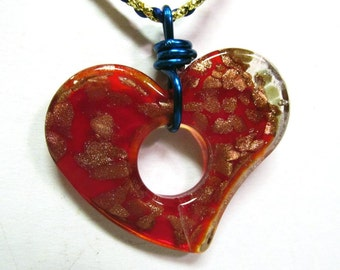 OOAK Hand Made Dichroitic Glass Large Red Heart Pendant with Gold Splashes on a Gold and Royal Blue Braided Satin Necklace 05