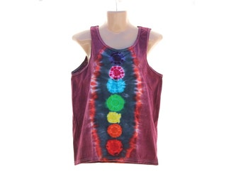 Tie Dye Chakra Tank Top, Plus Size Trippy Mens Yoga Tank, 2XL Activated Hippie Clothes, Summer Festival Top