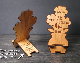 Mother's Day Gift For Grandma - Birthday Gift - Flower Phone Stand with Personal Message For Your Grandmother - Dock Fits iPhone and Galaxy