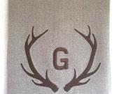 Antler Custom Linen Tea Towel, Guest Towel, Hand Towel Embroidered.  Hostess Gift.  Rustic Decor.