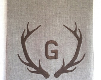 Antler Custom Linen Tea Towel, Guest Towel, Hand Towel Embroidered.  Hostess Gift.  Rustic Decor.