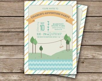 Adventure Birthday Party Invitation Printable   Zipline Party Invite   Zip Line Outdoor   Boy's Camping Explorer Digital File