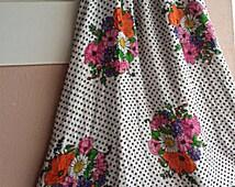 Hippie Wedding Dress - 70s Boho Floral Maxi Bandeau Dress - Poppy Flower Bouquet Polka Dot Print - Maternity Dress - S or Smaller M