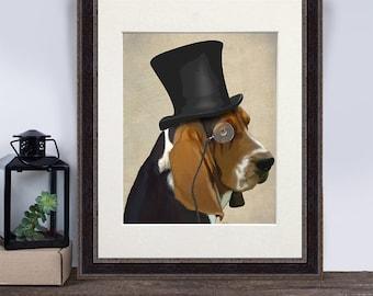 Funny dog Gift - Formal Basset hound print - basset hound dog basset hound portrait daddy gift fathers day gift for dad gift husband gift