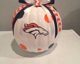 Denver Broncos craft pumpkin
