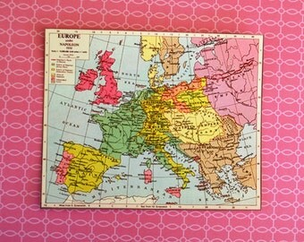 Miniature Vintage Europe Map (playscale 1/6 scale dollhouse diorama play mini for dolls) European France England Germany Italy