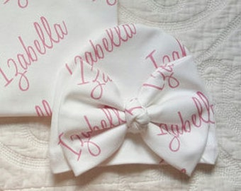 Personalized Newborn Bow Hat. 100% organic cotton. Infant Girl Name Newborn Hat.