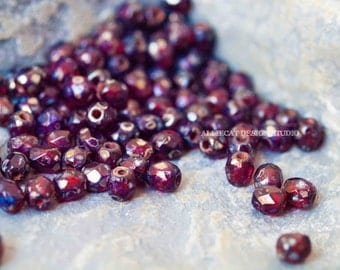 NEW PREMIUM 50 Red Tranparent Silver Picasso 3mm Firepolish Czech Glass Beads (N114)