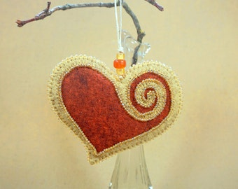 Beaded Copper & Gold Wool Felt Heart Ornament #2, Mother's Day Heart, Wedding Favor, Proposal Idea, Anniversary Gift *Ready to ship