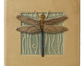 Art tile, Dragonfly, wall decor, 4 x 4 inches