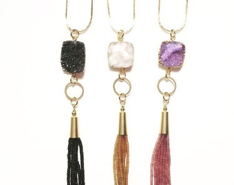 SALE-Druzy and Beaded Tassel Bohemian Crystal Necklace