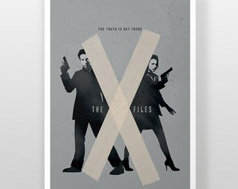 The X-Files Poster, X Files Mulder & Scully FBI Print, The Truth Is Out There, I Want To Believe