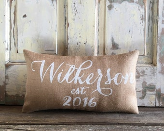 Burlap Pillow -  Personalized Name and Est date pillow | Family name pillow | Date pillow | Wedding/Anniversary gift | Gift for Mom
