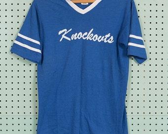 80s Vintage Knockouts Stedman Sport-T Ringer T Shirt V-Neck Size M
