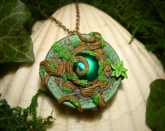 Heart of the sacred Forest - Made to Order - handsculpted openable Locket OOAK