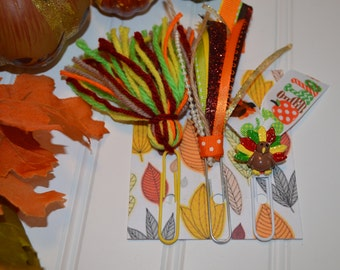 Tassel Clips, Set of 3... GOBBLE TURKEY set... Thanksgiving Bookmark Clips for Planner, Journal, or a Good Book... Fall, Leaves, Pumpkin