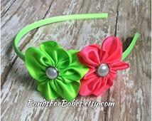 Hot Pink & Lime Green Satin Flower Headband, Girls Basic Satin Wrapped Flower Headband, Toddler Hair Accessory, Headband, Hard Headband