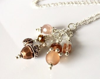 Beaded Tassel Necklace, Copper Necklace, Acorn Beaded Pendant, Tassel Jewelry, Boho Necklace, Crystal Necklace, Acorn Necklace, Gift for Her