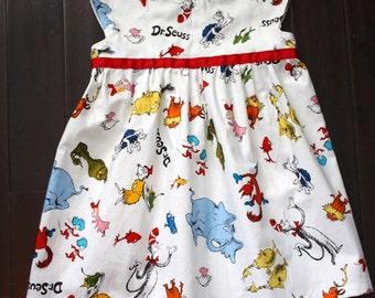 Dr. Seuss dress, girls dresses, baby girls clothing, girls' clothing, baby girls' clothing, geranium pattern, size 0-5T, 2T, 3T, 4T, 5T