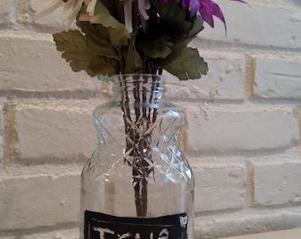Repurposed Bottle With Chalkboard