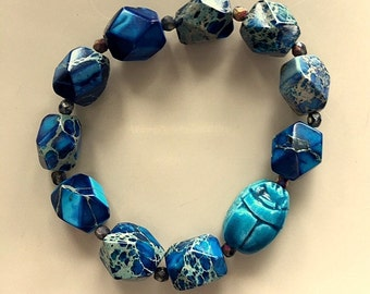 Blue Scarab and Crazy Lace Agate Bracelet - Men's Large Chunky Blue Scarab Bracelet - Unisex Blue and  Turquoise Scarab Bracelet