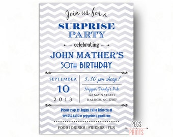 Chevron Surprise Birthday Invites (Printable) Surprise Birthday Party Invitations for Men or Women - Surprise Party Invites - Blue Invites