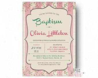 Baptism Invitation Girl Printable // Baptism Invites // Baptism Invitation for Girls // Baptism Invitations for Girls // Shabby Chic Floral