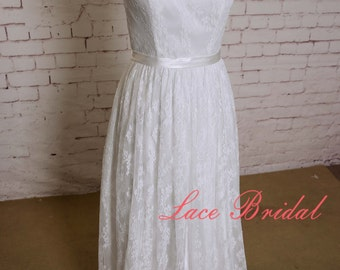 Full Lace Wedding Dress Sleeveless Bridal Gown with Sheer Lace Neckline A-line Sleevesless Wedding Dress