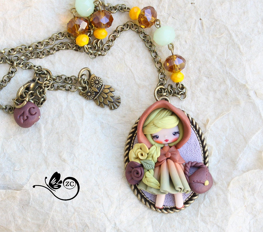 polymer clay necklace doll collection fimo clay