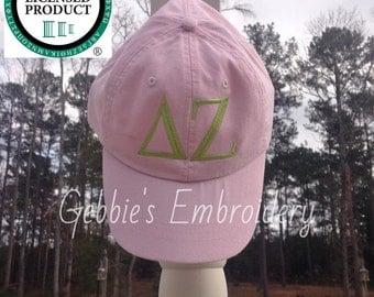 Delta Zeta Licensed Sorority Baseball Cap, Ball Hat Premium with Leather Strap