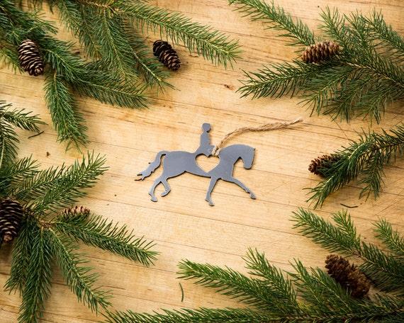 Love dressage christmas ornament rustic metal animal