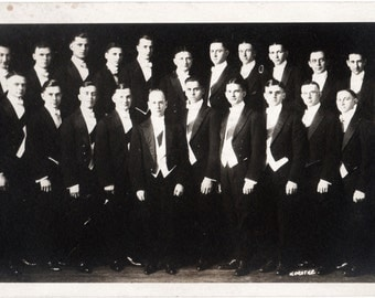 Real Photo Postcard ~  handsome college boys ~ RPPC ~ vintage photo