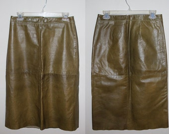 VINTAGE Brown Leather Pencil Skirt Fully Lined Size 6