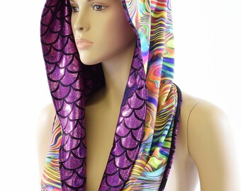 Reversible Festival Hood in Fuchsia Dragon Scale & Trippy Tropical Swirl *NEW STYLE*  Festival Rave Reversible Hood   -152200