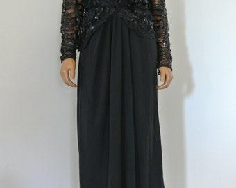 Miss Elliette California Black Party Dress Sequined Bodice Chiffon Faux Wrap Sheath Peplum Waist LBD/M
