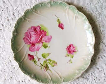 Vintage Bavaria Turquoise & Pink Rose Floral Round Scallop Edge Plate - 8 inch