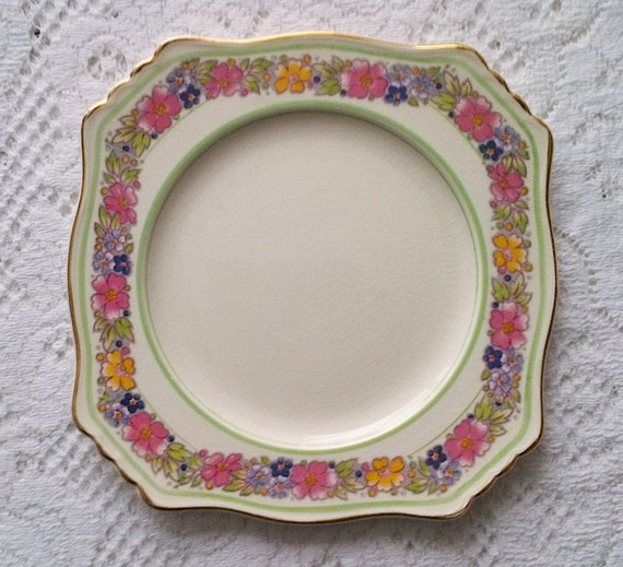 Royal Winton Grimwades Art Deco Square Cake Dinner Plate