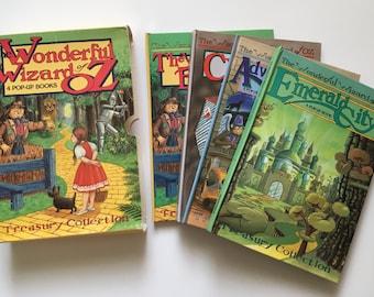 Set of 4 Vintage The Wonderful Wizard of Oz Pop-Up Books, Treasury Collection, Children's Books, DerryDale Books, L. Frank Baum