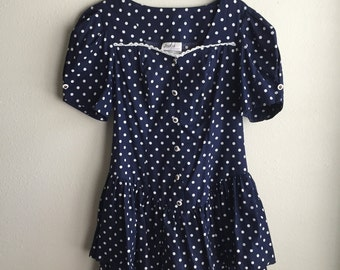 Polka Dot Drop Waist Ruffle Dress