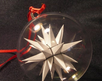Three inch White (with black binding) handmade paper Moravian Star used as decoration, ornaments or art.