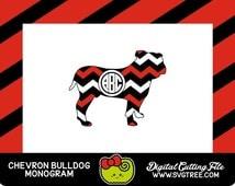 Bulldog SVG, Bulldog Monogram, Georgia SVG, SVG Files, Vector Art, Cricut Design Space, Silhouette Studio, Digital Cut Files