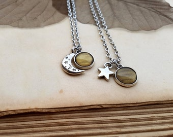 2 Star and Moon Necklaces, best friend jewelry, matching necklaces, 2 Star and Moon Chokers, moon and star jewelry, sisters necklaces, Venus