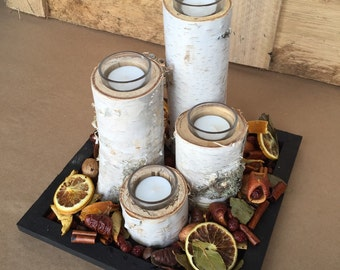 "Complete Set: Birch Pillars, Potpourri & Tray - Birch Pillars with Glass Tea Light Holder and Candles measure 2"", 4"", 6"", 8"""