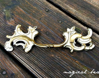 French Vintage Furniture Pulls French Provincial Drawer Pulls Cottage Chic Dresser Pulls Gold & Ivory Rococo Pulls Brass Drawer Pull Handles