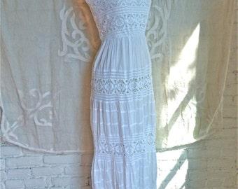 White Cotton and Crochet Lace Maxi Dress