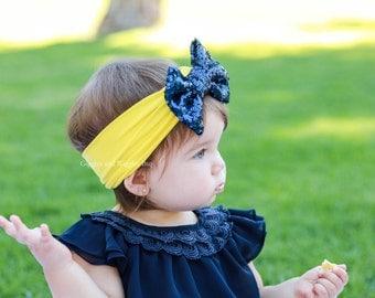 Baby headbands, navy blue and yellow headband, blue bow headband, sparkle bow headband, baby head wrap, baby bows, 1st birthday