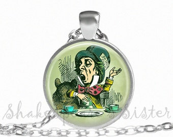 Mad Hatter - Alice in Wonderland Jewelry - Art Pendant - Mad Hatter Necklace